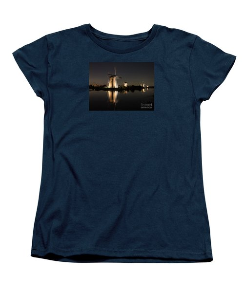 Windmills Illuminated At Night Women's T-Shirt (Standard Cut) by IPics Photography