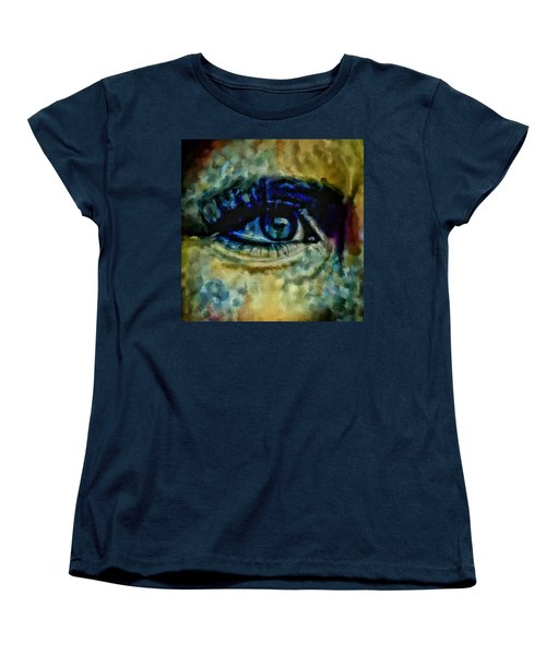 Women's T-Shirt (Standard Cut) featuring the painting Windows Into The Soul Eye Painting Closeup All Seeing Eye In Blue Pink Red Magenta Yellow Eye Of Go by MendyZ