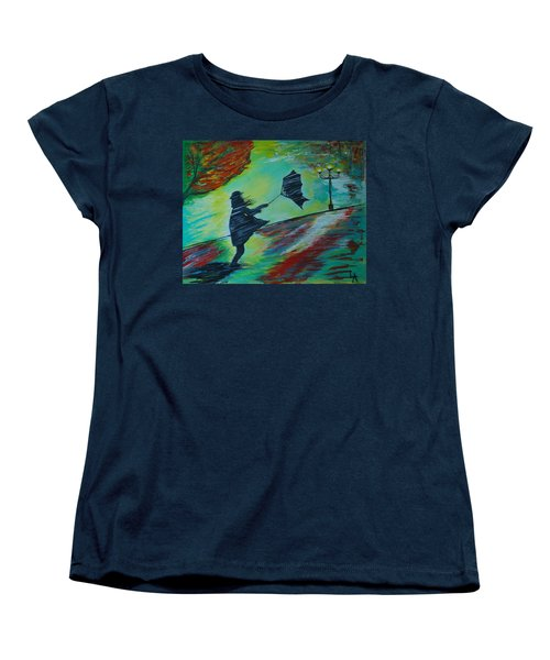 Women's T-Shirt (Standard Cut) featuring the painting Windy Escapade by Leslie Allen
