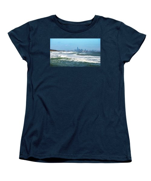 Windy View Of Nyc From Sandy Hook Nj Women's T-Shirt (Standard Cut) by Gary Slawsky