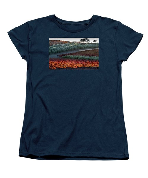 Women's T-Shirt (Standard Cut) featuring the photograph Wine Grapes And Olive Trees by Roger Mullenhour