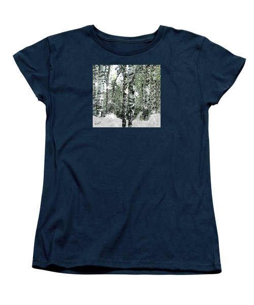 Women's T-Shirt (Standard Cut) featuring the digital art Winter Birches by Walter Chamberlain