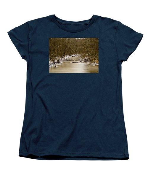 Women's T-Shirt (Standard Cut) featuring the photograph Winter Creek by Bonnie Willis