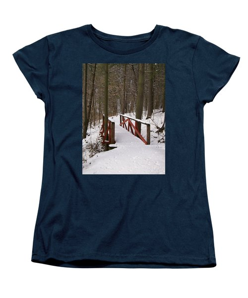 Women's T-Shirt (Standard Cut) featuring the photograph Winter Crossing by Sara  Raber