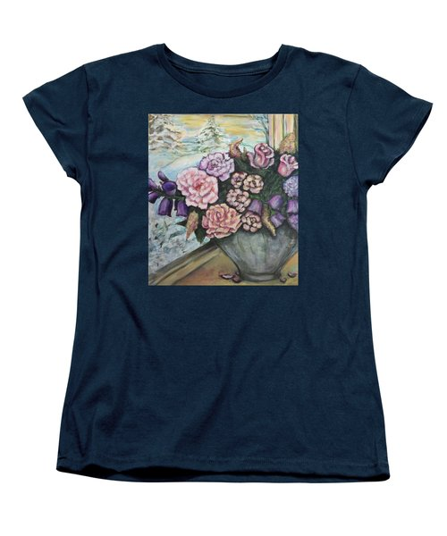 Women's T-Shirt (Standard Cut) featuring the painting Winter Flowers by Rae Chichilnitsky