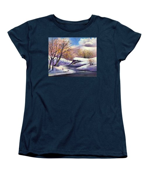 Women's T-Shirt (Standard Cut) featuring the painting Winter In The Garden Of Eden by Randol Burns