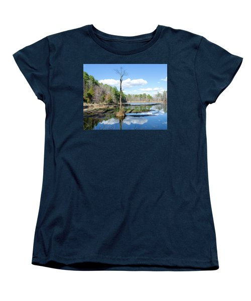 Women's T-Shirt (Standard Cut) featuring the photograph Winter Lake View by George Randy Bass
