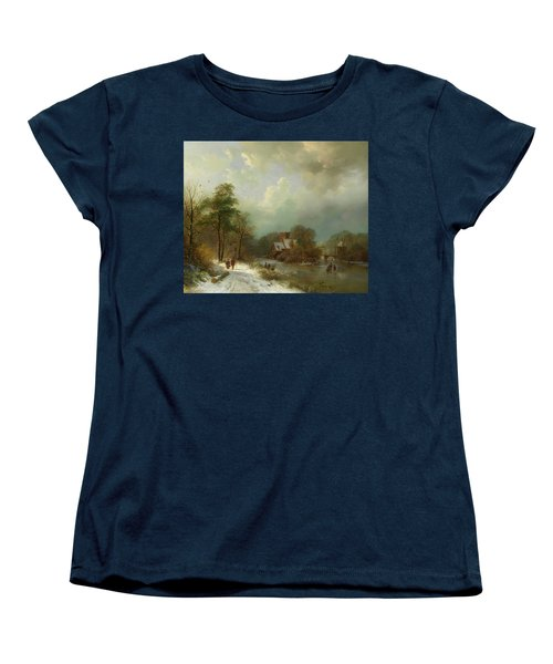 Women's T-Shirt (Standard Cut) featuring the painting Winter Landscape - Holland by Barend Koekkoek
