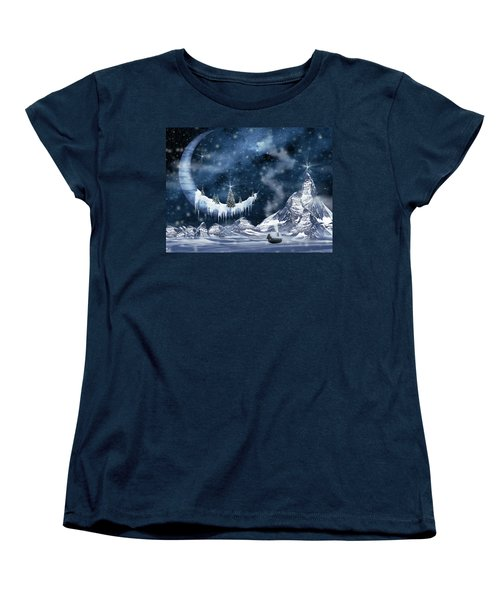Winter Moon Women's T-Shirt (Standard Cut) by Mihaela Pater