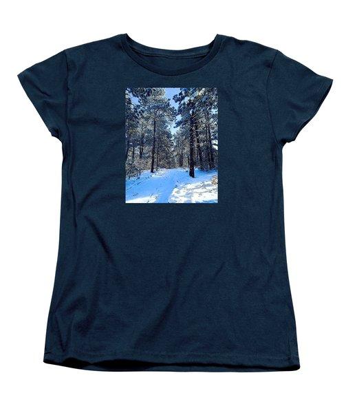Women's T-Shirt (Standard Cut) featuring the digital art Winter Morning by Walter Chamberlain