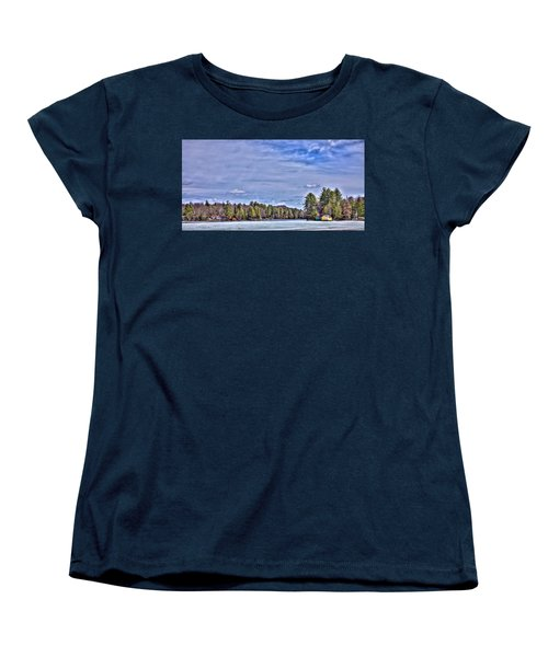 Women's T-Shirt (Standard Cut) featuring the photograph Winter On The Pond by David Patterson