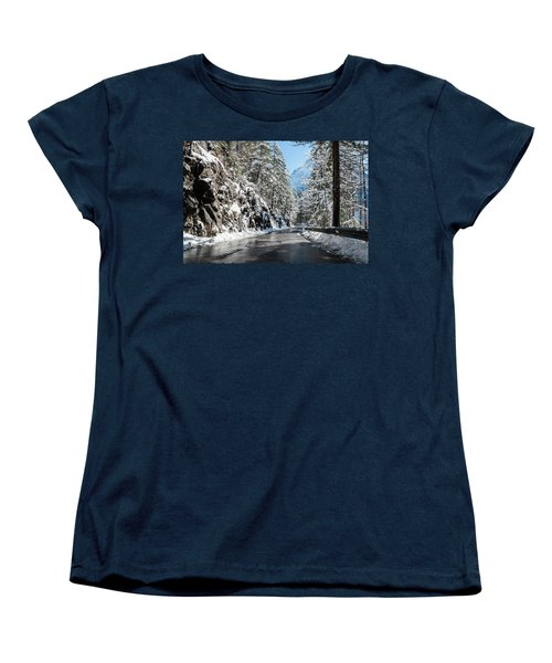 Women's T-Shirt (Standard Cut) featuring the photograph Winter Road by Sergey Simanovsky