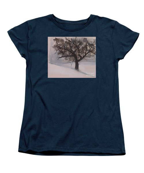 Women's T-Shirt (Standard Cut) featuring the painting Winter Tree by Laurie Rohner