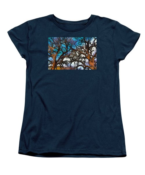 Women's T-Shirt (Standard Cut) featuring the photograph Winter Trees At Fort Tejon Lebec California Abstract by Floyd Snyder