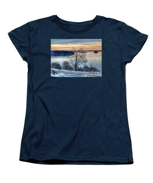 Winter Twilight At Fort Allen Park Women's T-Shirt (Standard Cut) by Patricia E Sundik