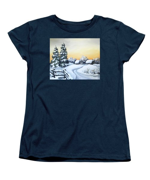 Women's T-Shirt (Standard Cut) featuring the painting Winter Twilight by Inese Poga