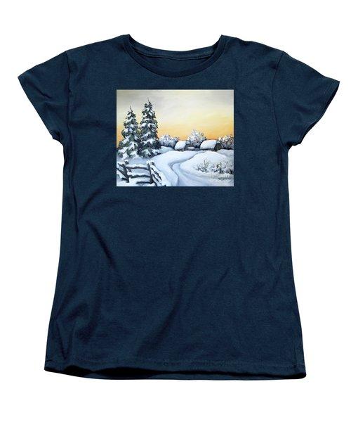 Winter Twilight Women's T-Shirt (Standard Cut) by Inese Poga
