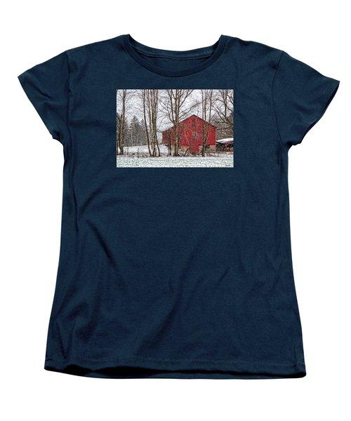 Wintry Barn Women's T-Shirt (Standard Cut) by Skip Tribby