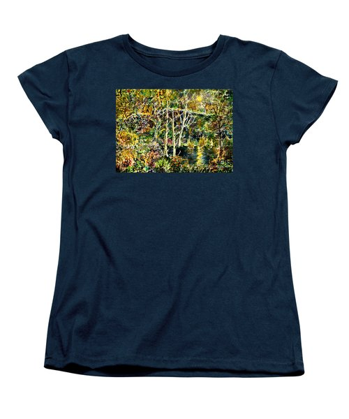 Women's T-Shirt (Standard Cut) featuring the painting Wolven Moon by Alfred Motzer