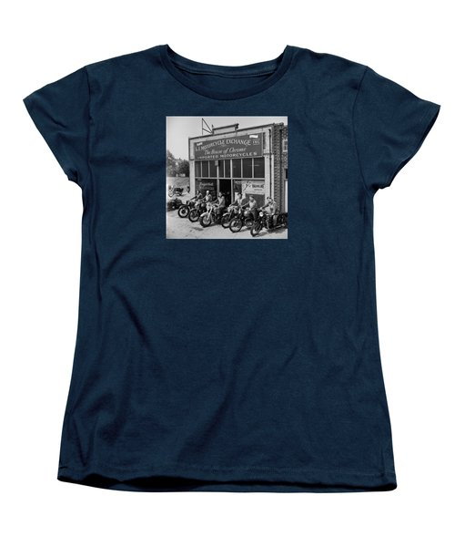 Women's T-Shirt (Standard Cut) featuring the photograph The Motor Maids Of America Outside The Shop They Used As Their Headquarters, 1950. by Lawrence Christopher