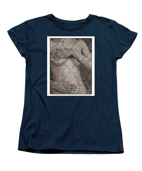 Women's T-Shirt (Standard Cut) featuring the photograph Woman Covering Her Breasts by Michael Edwards
