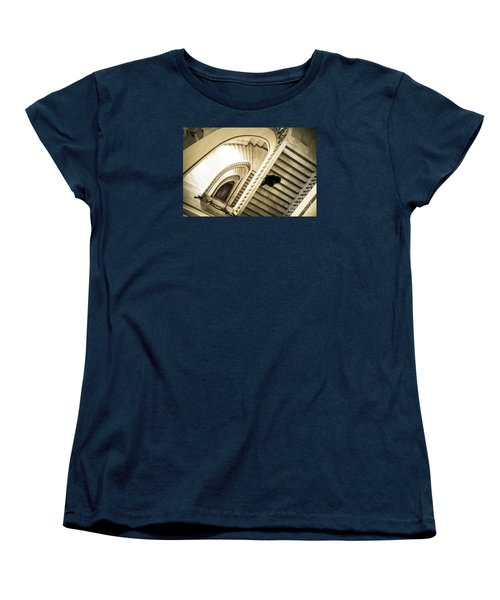 Woman Going Down At Staircase Women's T-Shirt (Standard Cut) by Perry Van Munster