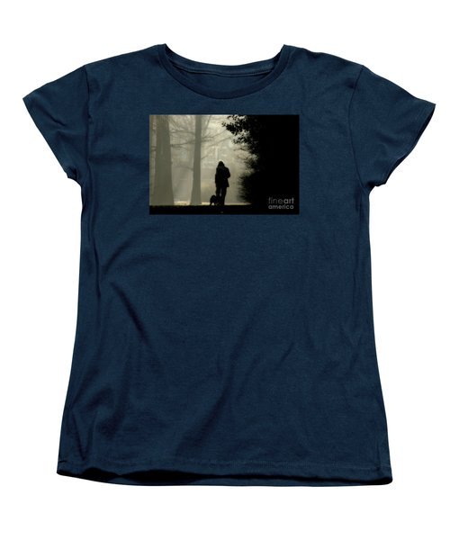 Women's T-Shirt (Standard Cut) featuring the photograph Woman Walking Dog by Patricia Hofmeester
