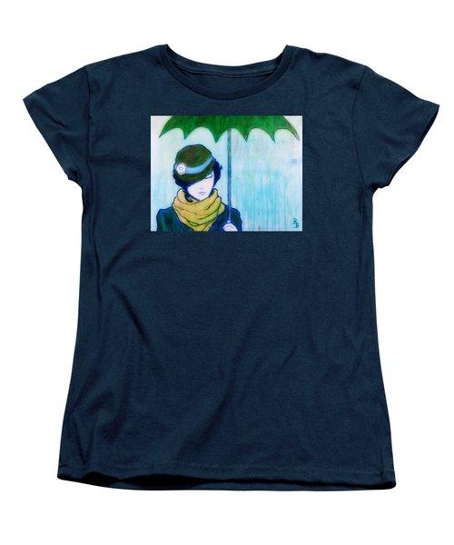 Woman With Green Umbrella Women's T-Shirt (Standard Cut)