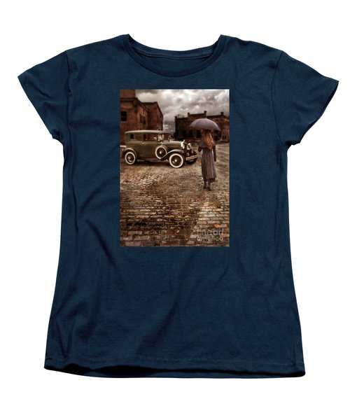 Woman With Umbrella By Vintage Car Women's T-Shirt (Standard Cut) by Jill Battaglia