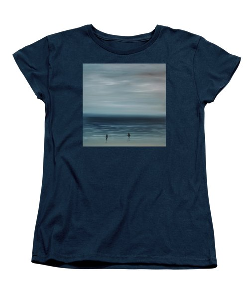 Women's T-Shirt (Standard Cut) featuring the painting Women On The Beach by Tone Aanderaa