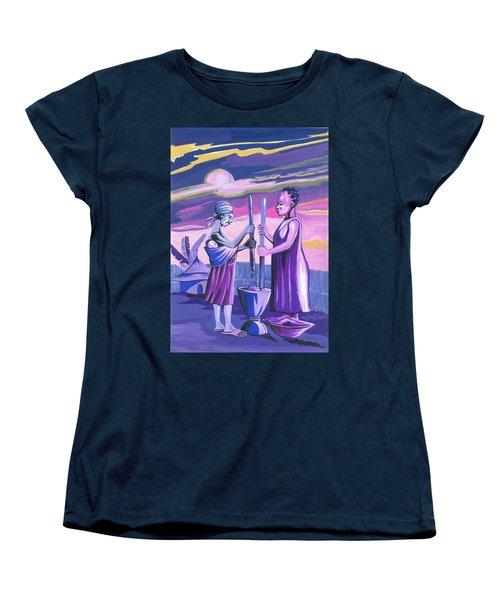 Women's T-Shirt (Standard Cut) featuring the painting Women Pounding Cassava by Emmanuel Baliyanga