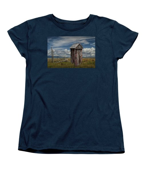 Wood Outhouse Out West Women's T-Shirt (Standard Cut) by Randall Nyhof