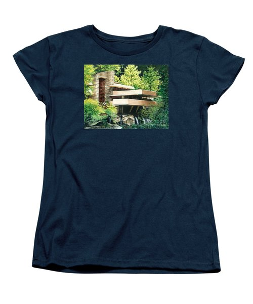Women's T-Shirt (Standard Cut) featuring the painting Fallingwater-a Woodland Retreat By Frank Lloyd Wright by Barbara Jewell