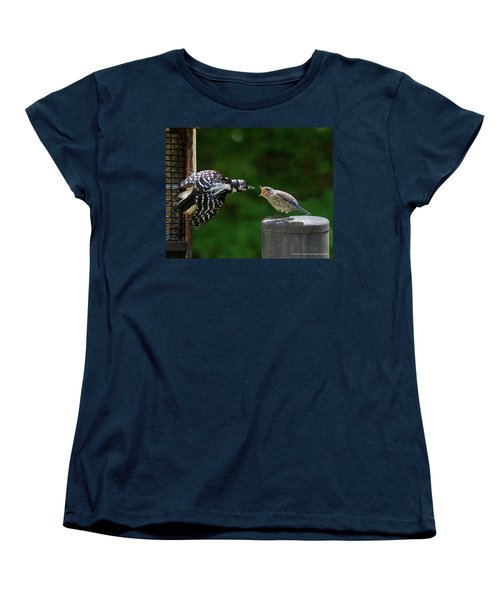 Woodpecker Feeding Bluebird Women's T-Shirt (Standard Cut) by Robert L Jackson