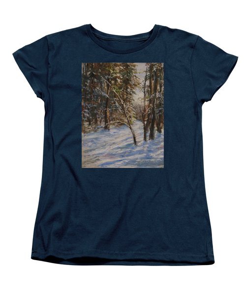 Woods And Snow At Two Below Women's T-Shirt (Standard Cut) by Jack Skinner