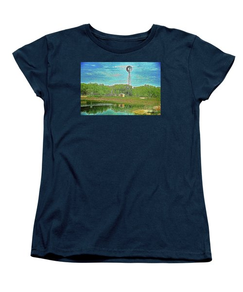 Women's T-Shirt (Standard Cut) featuring the photograph Working Windmill  by Ray Shrewsberry