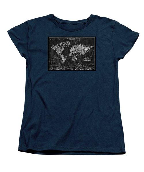 Women's T-Shirt (Standard Cut) featuring the digital art World Map Blueprint 2 by Bekim Art