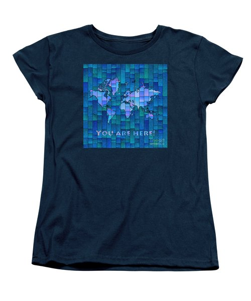 World Map Glasa You Are Here In Blue Women's T-Shirt (Standard Cut) by Eleven Corners