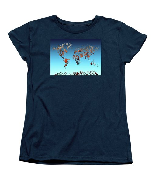 Women's T-Shirt (Standard Cut) featuring the digital art World Map Music 6 by Bekim Art