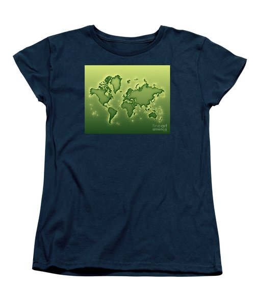 World Map Opala In Green And Yellow Women's T-Shirt (Standard Cut) by Eleven Corners