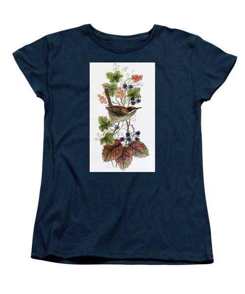 Wren On A Spray Of Berries Women's T-Shirt (Standard Cut) by Nell Hill