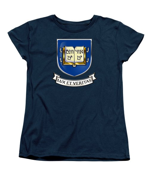 Yale University Seal - Coat Of Arms Over Colours Women's T-Shirt (Standard Cut) by Serge Averbukh