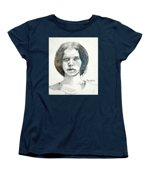Women's T-Shirt (Standard Cut) featuring the drawing Yelena by Ray Agius
