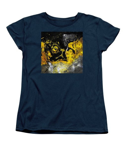 Women's T-Shirt (Standard Cut) featuring the painting Yellow And Black Abstract Art by Ayse Deniz