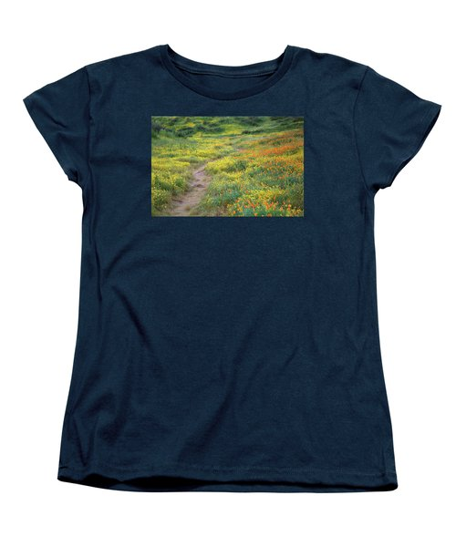 Women's T-Shirt (Standard Cut) featuring the photograph Yellow And Orange Wildflowers Along Trail Near Diamond Lake by Jetson Nguyen
