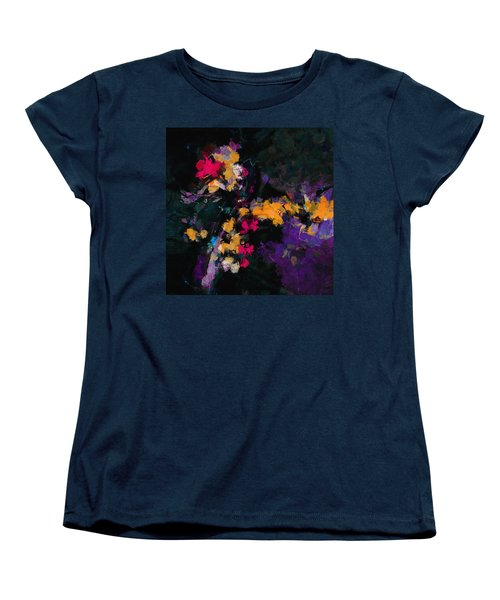 Women's T-Shirt (Standard Cut) featuring the painting Yellow And Purple Abstract / Modern Painting by Ayse Deniz