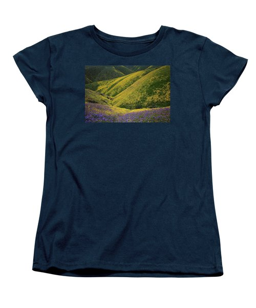 Yellow And Purple Wildlflowers Adourn The Temblor Range At Carrizo Plain National Monument Women's T-Shirt (Standard Cut) by Jetson Nguyen