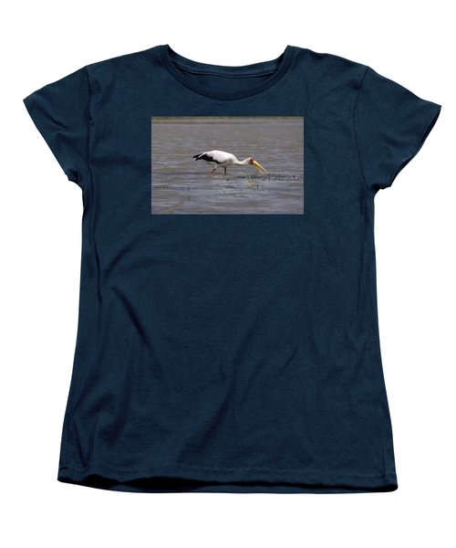 Yellow Billed Stork Wading In The Shallows Women's T-Shirt (Standard Cut) by Aidan Moran