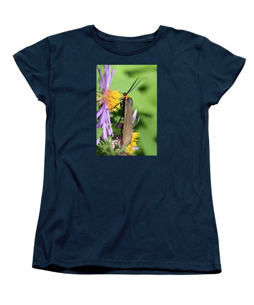 Women's T-Shirt (Standard Cut) featuring the photograph Yellow-collared Scape Moth by Doris Potter