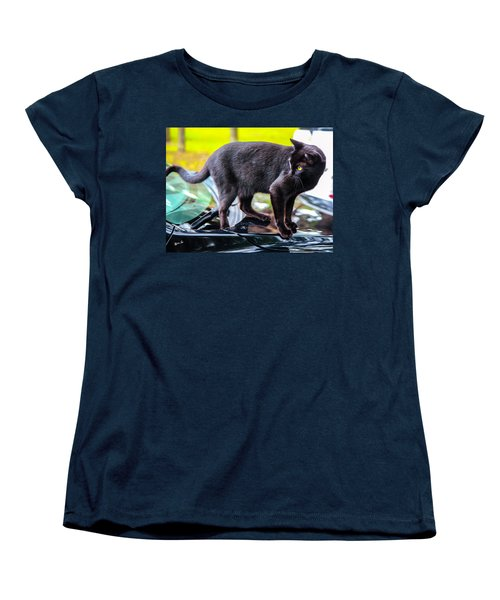 Women's T-Shirt (Standard Cut) featuring the photograph Yellow Eyed Cat by Madeline Ellis
